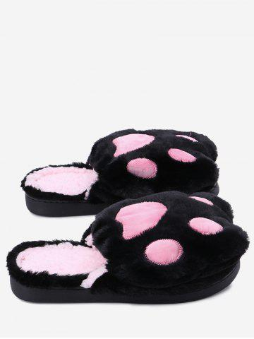 Hot Color Block Faux Fur Slippers