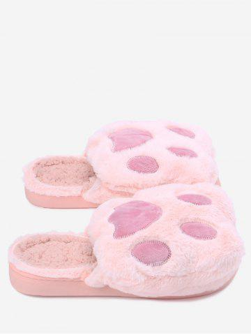 Affordable Color Block Faux Fur Slippers PINK SIZE(36-37)