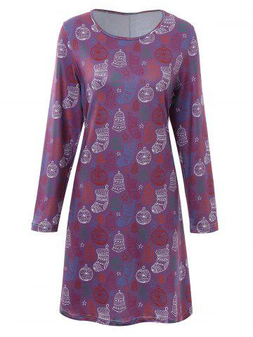 Chic Plus Size Stocking Printed Christmas Dress - 3XL PURPLE Mobile