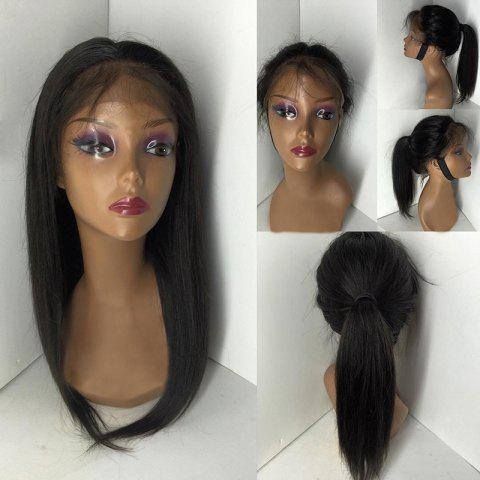 Best Free Part Medium Straight Lace Front Human Hair Wig - NATURAL BLACK  Mobile