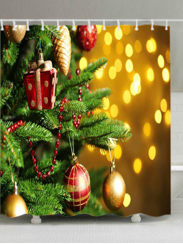 Outfit Christmas Tree Baubles Print Fabric Waterproof Bathroom Shower Curtain - W71 INCH * L79 INCH COLORMIX Mobile