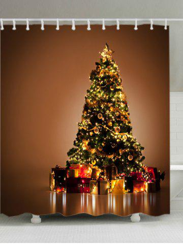 Latest Christmas Tree Gifts Print Fabric Waterproof Bathroom Shower Curtain GOLD BROWN W71 INCH * L71 INCH