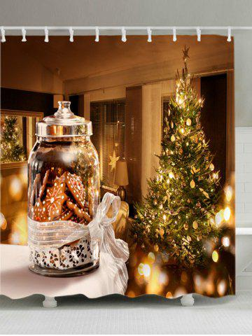 New Christmas Tree Biscuits Print Fabric Waterproof Bathroom Shower Curtain - W59 INCH * L71 INCH COLORMIX Mobile