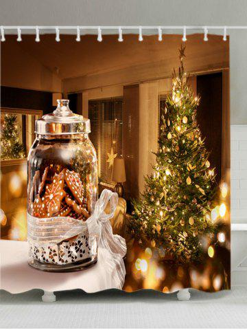 Fashion Christmas Tree Biscuits Print Fabric Waterproof Bathroom Shower Curtain - W71 INCH * L71 INCH COLORMIX Mobile