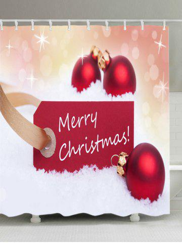 Sale Merry Christmas Baubles Print Fabric Waterproof Bathroom Shower Curtain - W59 INCH * L71 INCH RED Mobile