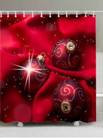 Online Christmas Cloth Baubles Print Fabric Waterproof Bathroom Shower Curtain - W71 INCH * L79 INCH RED Mobile