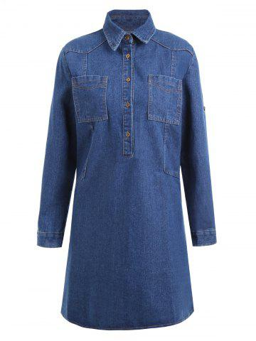 Trendy Plus Size Pocket Half Button Denim Coat BLUE 4XL