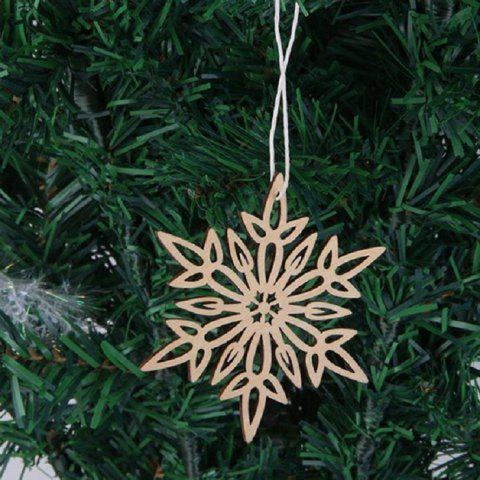 Chic 10 Pcs Christmas Tree Decorations Snowflake Wooden Hanging WOOD