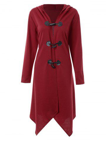 Store Plus Size Duffle Long Asymmetric Cloak Coat - 2XL WINE RED Mobile