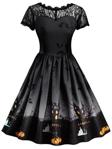Outfit Vintage Lace Insert Halloween Dress - DARK GREY XL Mobile