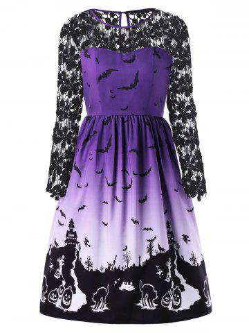 Fashion Halloween Plus Size Bat Print Lace Insert Dress