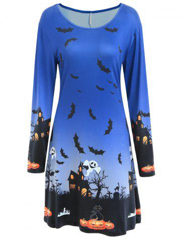 Affordable Long Sleeve Bat Print Swing Halloween Dress - S BLUE Mobile