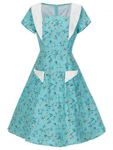 Cheap Vintage Pockets Floral Print Skater Dress - M LIGHT GREEN Mobile