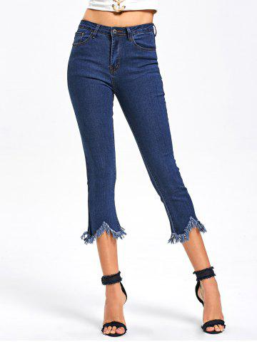 Buy Frayed Hem Capri Jeans BLUE M