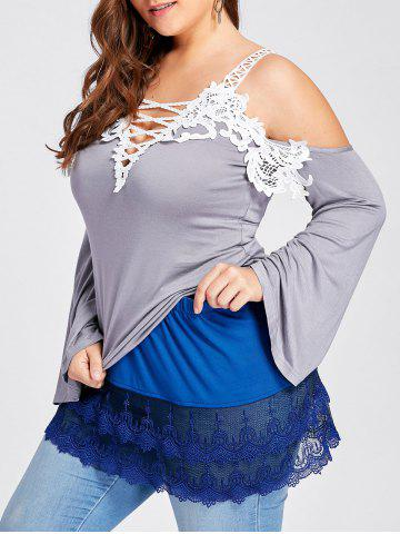 Chic Plus Size Layered Sheer Lace Extender Skirt BLUE 5XL