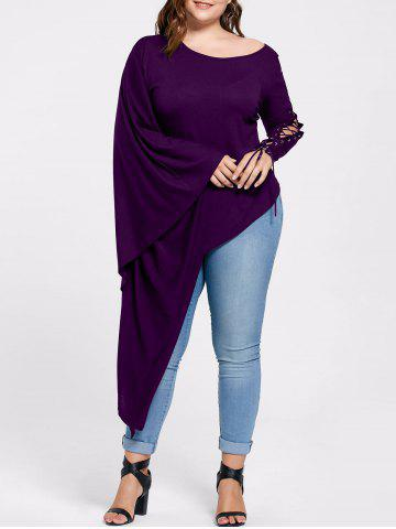Discount Plus Size Lace Up Batwing Sleeve Asymmetric Top - 5XL PURPLE Mobile