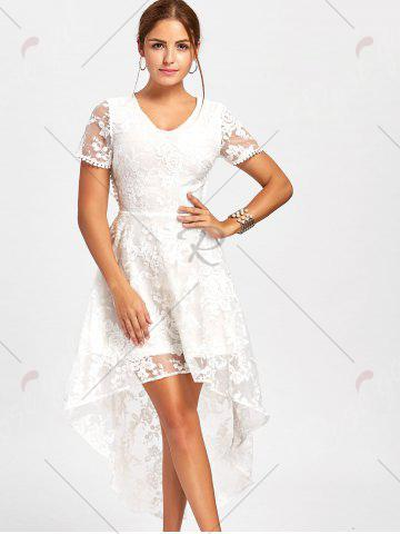 51a7268ee2 Tie Up High Low Long Lace Evening Dress - White - Xl