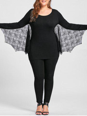 Fashion Plus Size Halloween Tulle Panel Bat Top