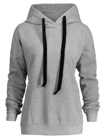 Online Drawstring Plus Size Side Zipper Hoodie