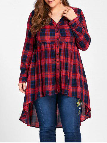 Chic Plus Size Checked V Neck Dip Hem Blouse RED XL