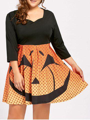 New Plus Size  Pumpkin Face Vintage Halloween Party Dress