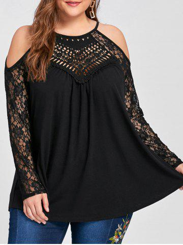 Outfit Plus Size Lace Panel Cold Shoulder Top BLACK 5XL