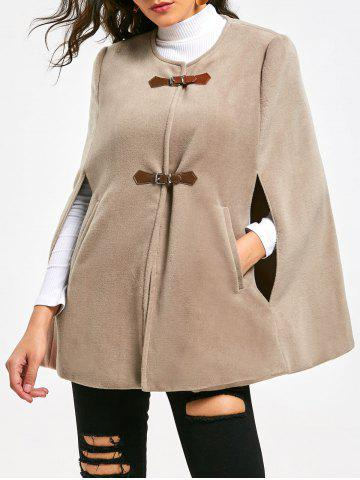 Affordable Batwing Sleeve Faux Suede Cape Coat - M APRICOT Mobile