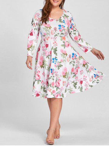 Fashion Plus Size Empire Waist Floral Print Dress