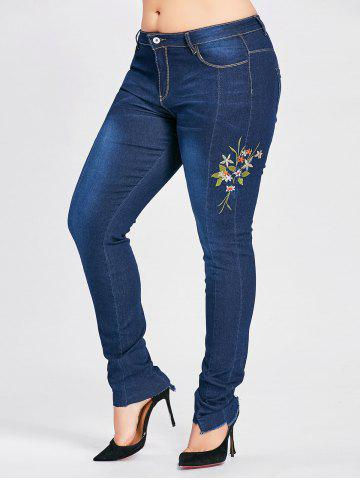 New Plus Size  Flower Embroidered Dark Wash Jeans