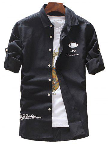 Unique Roll Tab Sleeve Hat Moustache Embroidery Shirt