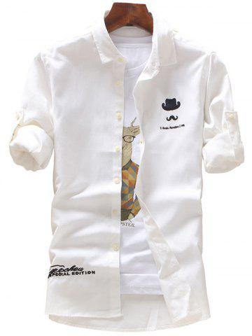 Chic Roll Tab Sleeve Hat Moustache Embroidery Shirt