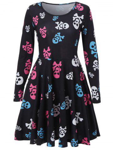 Cheap Skull Print A Line Halloween Dress