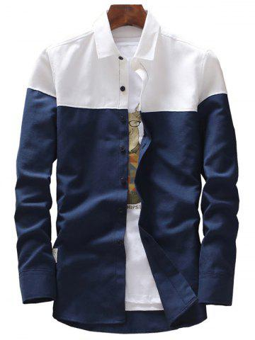 Online Casual Two Tone Long Sleeve Shirt