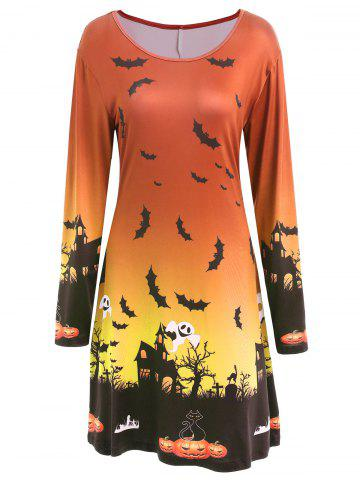 Store Long Sleeve Bat Print Swing Halloween Skater Dress