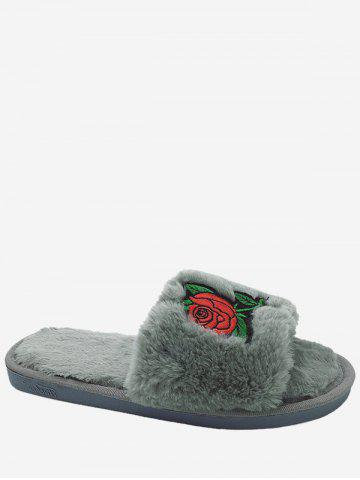 Latest Open Toe Faux Fur Embroidery Flower Slippers