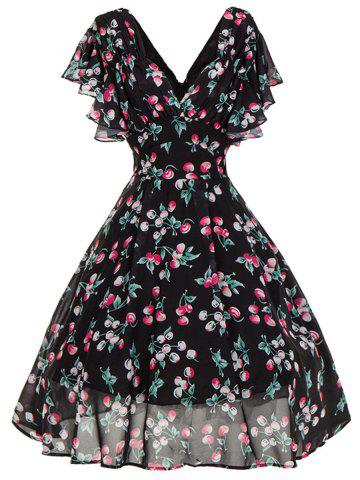 Discount V Neck Cut Out Cherry Print Skater Dress