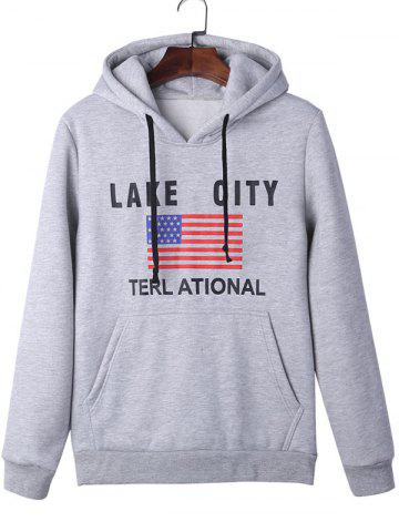 Affordable American Flag Graphic Kangaroo Pocket Hoodie