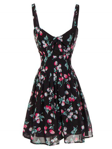 Latest Backless Cherry Print Cami Swing Dress