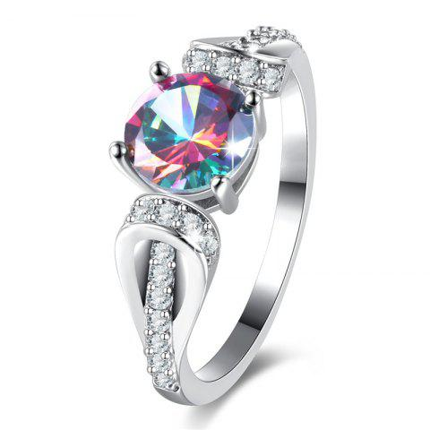 Unique Faux Crystal Gem Round Sparkly Ring