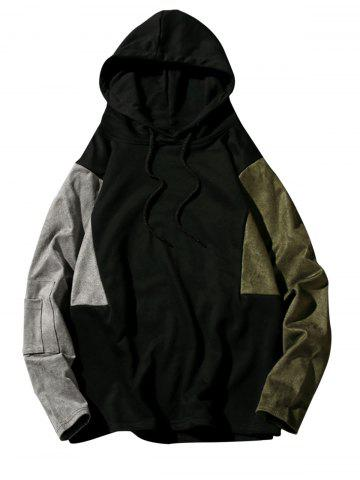 Unique Color Block Drop Shoulder Pullover Hoodie