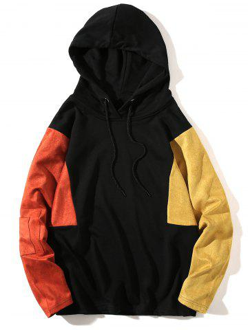 Trendy Color Block Drop Shoulder Pullover Hoodie