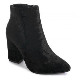 Ankle Pointed Toe Chunky Boots - BLACK 35
