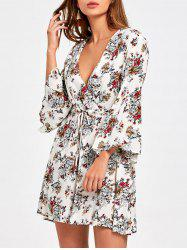 Surplice Flare Sleeve Floral Printed Dress - COLORMIX XL