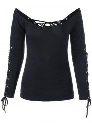 Off The Shoulder Lace Up Halloween Top - BLACK M