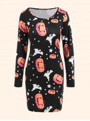 Halloween Pumpkin Ghost Plus Size Bodycon Dress - Noir 5XL