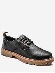Lace Up Faux Leather Low Top Casual Shoes -