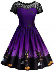 Vintage Lace Insert Halloween Dress - Purple - Xl