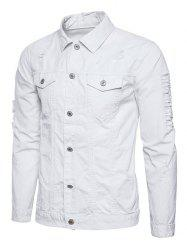 Button Up Distressed Cargo Jacket - WHITE 2XL