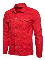 Button Up Distressed Cargo Jacket - RED L