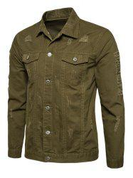 Button Up Distressed Cargo Jacket - ARMY GREEN L